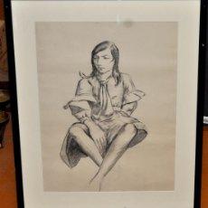 Arte: ANÓNIMO. DIBUJO A CARBÓN. RETRATO FEMENINO. Lote 35064112