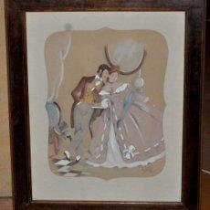 Arte: ILEGIBLE FECHADO DEL AÑO 1948. ESCENA EN EL SALÓN. GOUCHE SOBRE CARTULINA. Lote 34874899