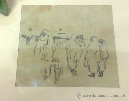 Arte: .-MUJERES ÁRABES.- INTERESANTE DIBUJO A LÁPIZ.- - Foto 9 - 34902135