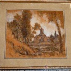 Arte: BONITO DIBUJO DE LA IGLESIA DE SANT PERE DE TERRASSA.ANTONI BADRINAS ESCUDE(TERRASSA 1882-1969).. Lote 34965057