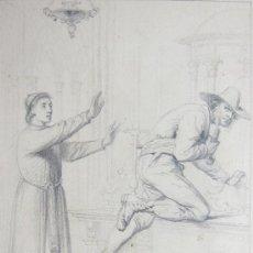 Arte: DIBUJO A LAPIZ, FIRMADO POR C. GINER, DEL SIGLO XIX. . Lote 35257894