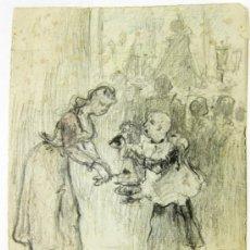 Arte: INTERIOR DE IGLESIA CON MONAGUILLO Y DAMA. FIRMADO E. CASALS. FECHADO EN 1907. Lote 35259815