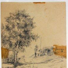 Arte: PAISAJE A LAPIZ, DE OCTAVIO BIANQUI (CARTAGENA 1872 - BARCELONA 1936). Lote 35260202