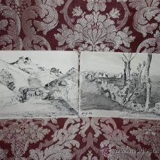 Arte: BONITA PAREJA DE DIBUJOS A TINTA - REPRESENTANDO PAISAJES DE BAGUR - AÑOS 50 - SIN FIRMAR. Lote 35810230