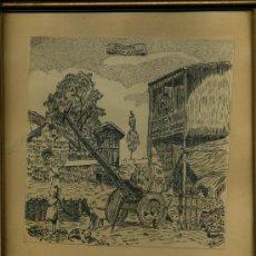 Arte: - 2 CUADROS DIBUJADOS A PLUMILLA FIRMADOS R. PASTOR ALHAMBRA Y PAISAJE GALLEGO. Lote 35937856