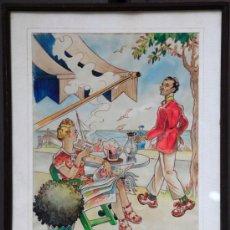 Arte: ANTONI BATLLORI JOFRE (1915-1999) DIBUJO A COLOR 1940'S. 33X45 CM. MARCO: 44X57 CM.. Lote 36032888