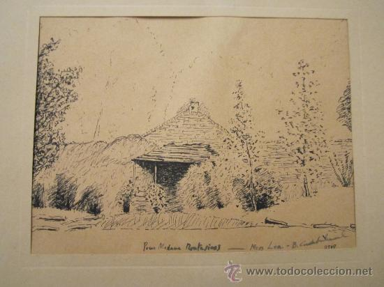 DIBUJO A TINTA, FIRMADO 1949- DEDIC.PARA MADAME MONTESINOS MOSS LEA- FIRMA B.CONDE( RESTO ILEGIBLE (Arte - Dibujos - Contemporáneos siglo XX)