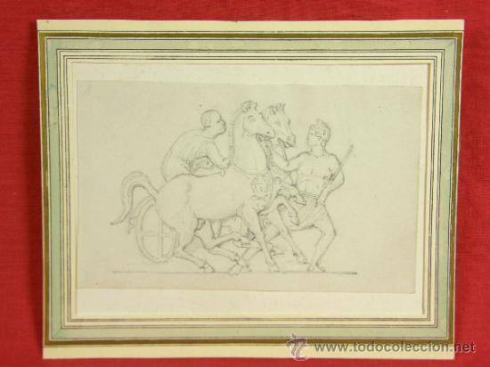 DIBUJO A LÁPIZ DE BIGA CON CORREDOR Y PALAFRENERO MOTIVO DE BAJORELIEVE CLÁSICO S XIX 10X16,5CMS (Arte - Dibujos - Modernos siglo XIX)