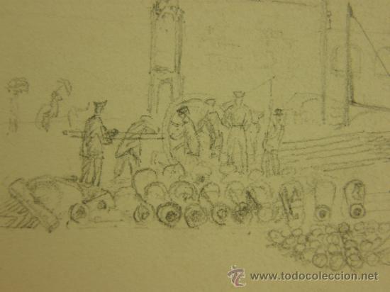 Arte: Dibujo a lápiz de murallas de ciudad ucrania mar negro guerra de crimea s XIX 17,5x25cmscms - Foto 3 - 36149340