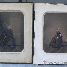 Arte: PAREJA DE DIBUJOS AL CARBÓN, RETRATOS FIRMADOS Y FECHADOS: GUISONA, 1862 Y 1865. 35X43 CM.. Lote 36351215