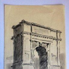 Arte: ARCO ROMANO, CARBONCILLO IMPRESIONISTA DE FINALES DEL SIGLO XIX, MUY BIEN EJECUTADO, FIRMA ILEGIBLE.. Lote 36456417