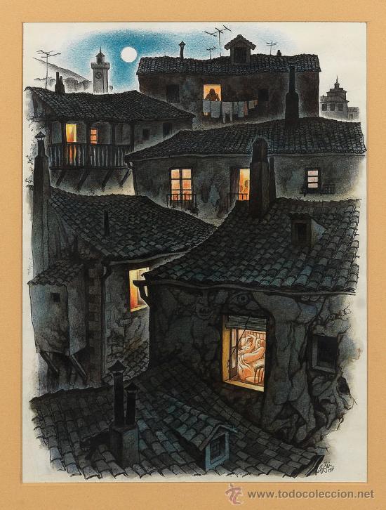 MAGNIFICO DIBUJO ORIGINAL (PIEZA DE MUSEO) DE LORENZO GOÑI, ANOCHECER ... FIRMADO Y FECHADO EN EL 85 (Arte - Dibujos - Contemporáneos siglo XX)