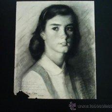 Arte: FRANCISCO MARTÍN FERNANDEZ (1905-1990). CARBÓN/PAPEL. 49 X 40 CM. RETRATO DE LA HIJA DEL ARTISTA.. Lote 36497410