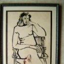 Arte: PINTURA JOVEN PENSATIVA-DIBUJO-45X66 CM-CARBON-UNICO-FIRMADO:GRANADOS LLIMONA 76-(JOAN)-AÑO 1976. Lote 36558508