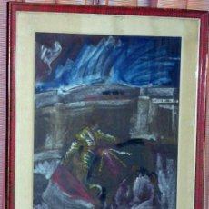 Arte: CUADRO TAURINO A CERA AÑOS 70,CON MARCO Y CRISTAL,FIRMADO 74X58 . Lote 36659878