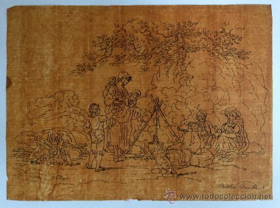 MAGISTRAL DIBUJO, PAPEL VERJURADO SOBRE TINTA, PRINCIPIOS DEL XVIII CIRCA 1720, GRAN CALIDAD (Arte - Dibujos - Antiguos hasta el siglo XVIII)