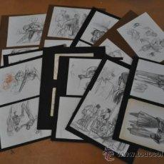 Arte: LOTE DE 20 DIBUJOS A LAPIZ, ESBOZOS. PERSONAJES. . Lote 36777189