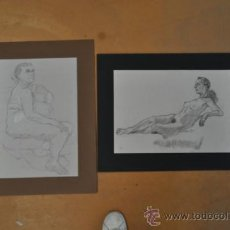 Arte: LOTE DE 2 DIBUJOS A CARBON, DESNUDOS. . Lote 36777192