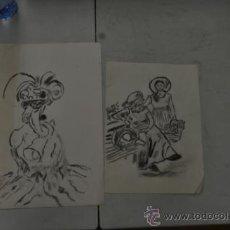 Arte: LOTE DE 2 DIBUJOS AGUADAS. . Lote 36777196