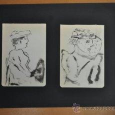 Arte: LOTE DE 2 DIBUJOS. ESBOZOS. AGUADAS. PERSONAJES.. Lote 36777226