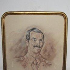 Arte: DIBUJO ENMARCADO MILITAR DE ARTILLERIA - FIRMADO MIDE 53X43 CM - RETRATO. Lote 36999457