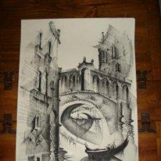 Arte: PRECIOSO DIBUJO A CARBONCILLA,VENECIA. Lote 37026665