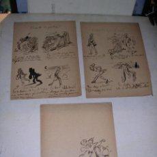 Arte: 3 HOJAS CON DIBUJOS A PLUMILLA HISTORIETA TOMAS PADRO ????? BARCELONA 1840 1877 . Lote 37255765
