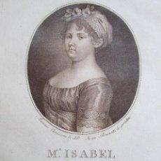 Arte: ANTONIO CARNICERO,JUAN BRUNETTI- Mª ISABEL INFANTA DE ESPAÑA Y PRINCESA DOS SICILIAS,GRABADO, 1802. Lote 37392841