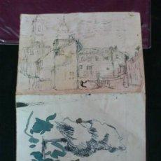 Arte: DIBUJO ..TINTA NEGRA.. BOCETO ORIGINAL DEL PINTOR ARAGONES MANUEL LAHOZ VALLE. ARAGON. Lote 37451179