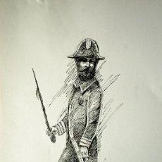 Arte: CURIOSO DIBUJO A TINTA Y LAPIZ DE UN MILITAR CON UNIFORME ANTIGUO. Lote 37556959