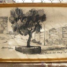 Arte: DIBUJO A CARBÓN - FIRMADO SERGI - PAISAJE URBANO. Lote 37830743