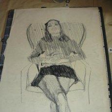 Arte: DIBUJO/ CARBONCILLO - FDO A CASAS - DESCANSO FEMENINO. Lote 119608111