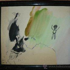Arte: DIBUJO A TINTA Y ACUARELA - JORDI SAMSÓ - ESPECIES DE ZOBEL. Lote 37943299