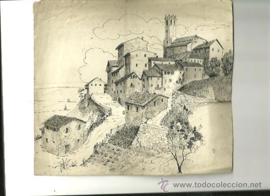 1201.- CASTELLTERÇOL -DIBUIX ORIGINAL SOBRE 1940-PLUMILLA (Arte - Dibujos - Contemporáneos siglo XX)