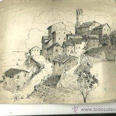 Arte: 1201.- CASTELLTERÇOL -DIBUIX ORIGINAL SOBRE 1940-PLUMILLA. Lote 38060800