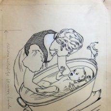 Arte: PRECIOSO DIBUJO DE LOS AÑOS 40, BOCETO ORIGINAL PARA ANUNCIO, EXCELENTE CALIDAD. Lote 38119698