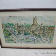 Arte: MARCO CON PINTURA HECHA A MANO CON PLUMILLA Y ACUARELAS DEL CENTRO DE MADRID. Lote 38233178