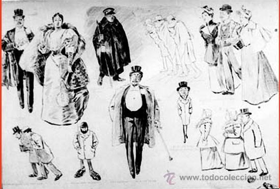 DIBUJO ORIGINAL ESCUELA ESPAÑOLA FF. S. XIX·¿DONDE PASAN USTEDES LA VELADA? FDO. A. PONS (Arte - Dibujos - Modernos siglo XIX)
