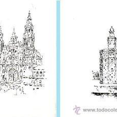 """Arte: PAR DE CUADERNILLOS DIPTICOS Y DIBUJO IMPRESO PARTE FRONTAL.""""CATEDRAL DE SANTIAGO"""" Y """"TORRE DEL ORO"""". Lote 38392230"""