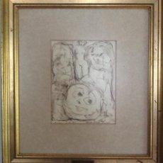 Arte: LAXEIRO, TÉCNICA MIXTA, ORIGINAL, 3-5-1986 VIGO, 53,5X48,5 CM ,25 X 20 CM LÁMINA . Lote 38442260