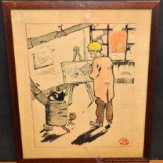 Arte: FIRMADO CON MONOGRAMA. AGUADA SOBRE PAPEL DE LOS AÑOS 50. EL PINTOR. Lote 38783247