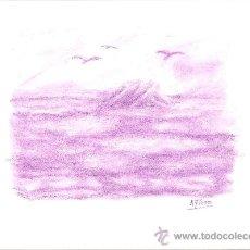 Arte: DIBUJO LÁMINA A PASTEL. GAVIOTAS. 21.3X29.7 CM. Lote 29639268