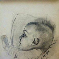Arte: BRILLANTE RETRATO DE UN BEBE, REALIZADO POR EL COTIZADO PINTOR ALEMAN FRANZ MAYER, GRAN CALIDAD. Lote 39022371