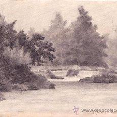 Arte: RIBAS DE FRESSER. DIBUJO ANONIMO AL CARBON. FECHADO 1894 Y TITULADO. 28 X 20 CM. . Lote 39065651