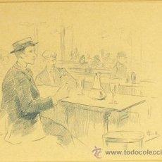Arte: ALEX COLL. DIBUJO A LÁPIZ AZUL: 'EN EL BAR'. 1895. 30 X 25CM.. Lote 39174795