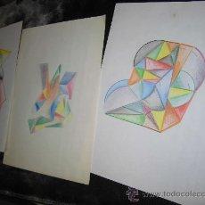 Arte: TRES DIBUJOS ANTIGUOS ESTILO CUBISTA EN CUARTILLAS. Lote 39192502