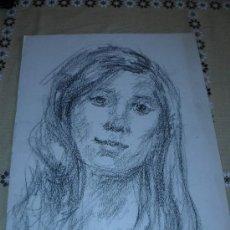 Arte: DIBUJO RETRATO FEMENINO A LÁPIZ (30). Lote 39206152