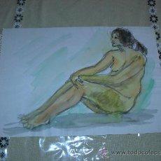 Arte: DIBUJO DESNUDO FEMENINO ACUARELA (40). Lote 39207529