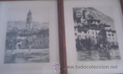 PRECIOSAS PINTURAS DE MONUMENTOS HECHAS A PLUMILLA,CON FIRMA DE LA AUTORA. FLORIN (Arte - Dibujos - Modernos siglo XIX)