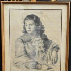 Arte - RAMÓN RIBAS RIUS (BARCELONA, 1903 - 1983) DIBUJO A CARBÓN DEL AÑO 1944. RETRATO DE UNA MUCHACHA - 39289908